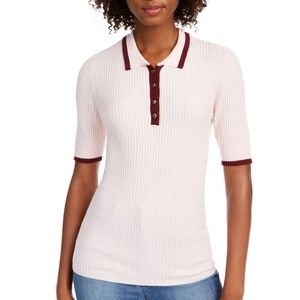 Maison Jules Ribbed Contrast Polo Sweater